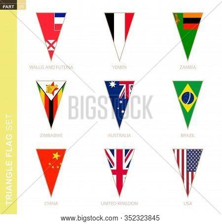 Triangle Flag Set, Stylized Country Flags Of Australia, Brazil, China, Uk, Usa, Wallis And Futuna, Y