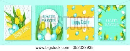 Happy Easter Set 4 Gifts Cards, Realistic Vector Illustration With Yellow Tulips And Bright Decorate