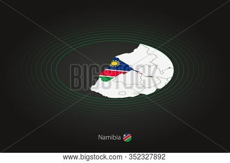 Namibia Map In Dark Color, Oval Map With Neighboring Countries. Vector Map And Flag Of Namibia