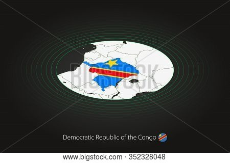Congo-kinshasa Map In Dark Color, Oval Map With Neighboring Countries. Vector Map And Flag Of Dr Con