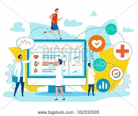Man Jogging And Doctors Checking Male Health Indicators On Flat Huge Computer Monitor. Smart Trainer