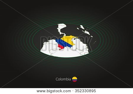 Colombia Map In Dark Color, Oval Map With Neighboring Countries. Vector Map And Flag Of Colombia