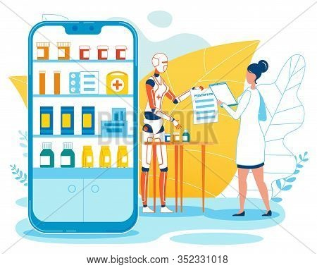 Online Medication Store Mobile Application. Cartoon Woman Doctor And Robot Pharmacist Characters. Ai