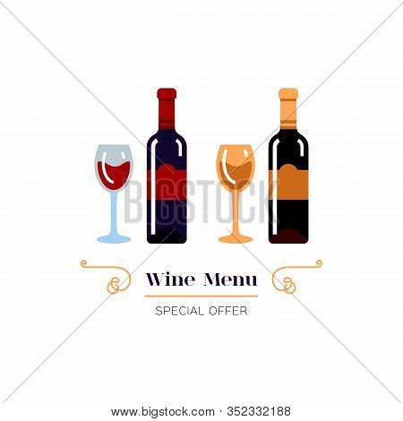 Red And White Wine Icon, Wine Menu Logo. Winemaking, Tasting. Glasses And Bottles Of Wine. Emblem De