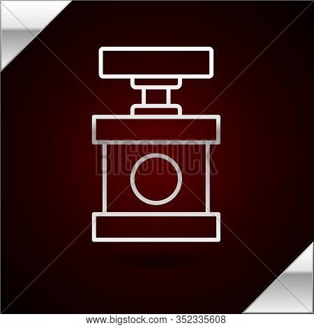 Silver Line Handle Detonator For Dynamite Icon Isolated On Dark Red Background. Vector Illustration