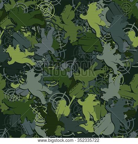 Seamless Pattern Bear Target Tank Camouflage. Vector Image Eps 10