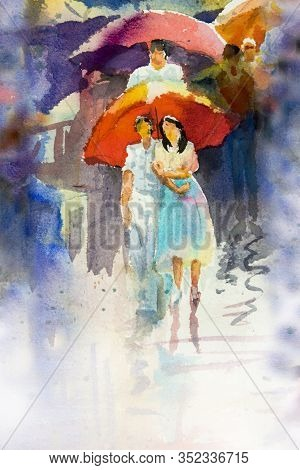 Rainy Day - Colorful Watercolor Painting Of People Walking On The Street And Men, Women, Lovers With