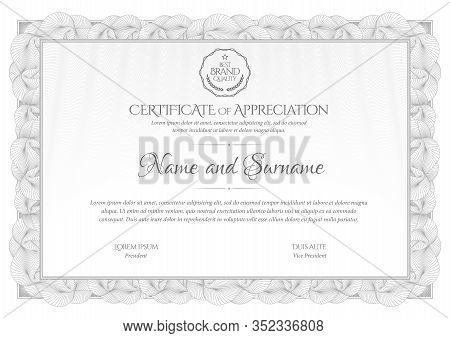 Certificate Template In Silver. Diploma Of Modern Design Or Gift Certificate In Grey Color. Frame Fr