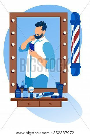 Cool Handsome Young Bearded Man With Stylish Hairdo Wearing Casual Clothing Making Selfie In Barbers