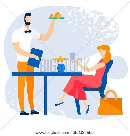 Bright Banner Order In Summer Cafe Cartoon Flat. Vector Illustration. Woman Spends Her Holidays In C