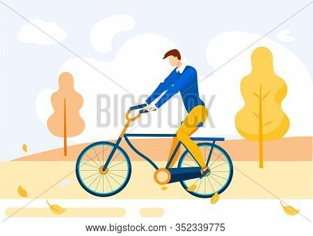Informative Flyer Bike Ride In Autumn Cartoon. Banner Prevention Health Problems. Guy In Casual Clot