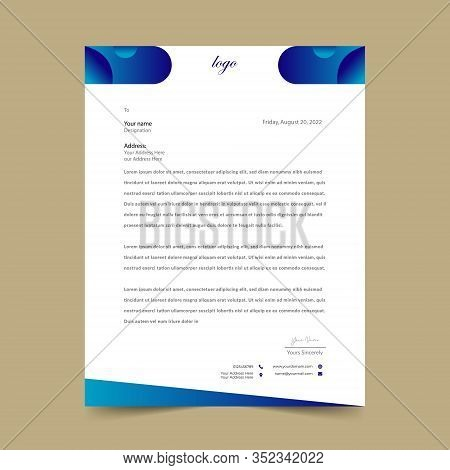 Blue Letterhead Pad Template Design Eye Catching