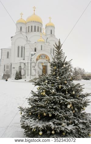 Christmas Tree And Chirch In Diveevo, Russia