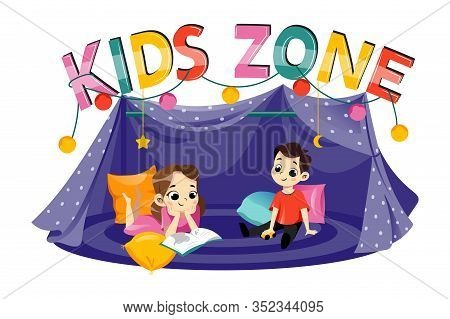 Kids Party Concept. Kids Zone Inscription Above Kids Tent. Colorful Letters And Happy Children In Th