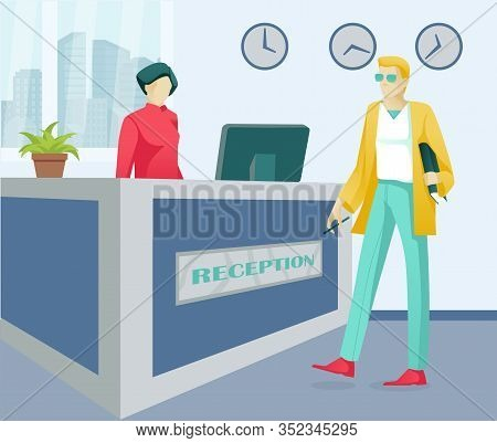Cartoon Woman Receptionist And Man Customer Characters. Business Office Or Hotel Reception Service.