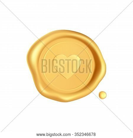 Wax Seal With Heart. Gold Stamp Wax Seal With Heart Silhouette Isolated On White Background. Golden