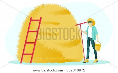 Cartoon Farmer Male Character Standing With Bucket And Rake. Flat High Haystack With Ladder. Haymaki