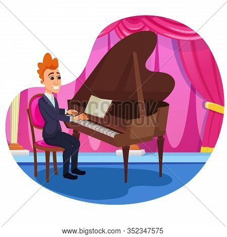 Advertising Banner Piano Solo Performance Flat. Art Pianist World Famous Musician. Guy In Tuxedo Sit