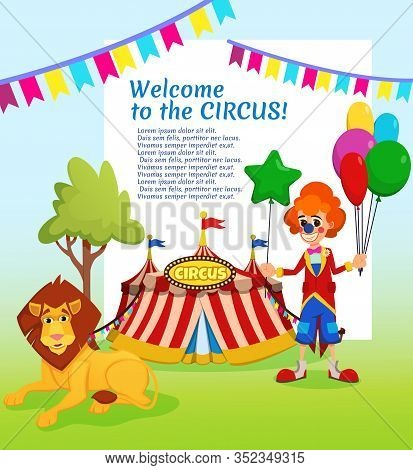 Informative Poster Written Welcome To Circus. Modern Mobile Circus Construction Big Top. Clown Stand