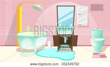 Sink Repair Flat Cartoon Vector Illustration. Sink Installing Renovation In Bathroom, Faucet With Wa