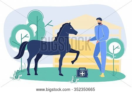 Vet Petting And Examining Horse Outdoors At Ranch Or Farm. Animal Beating Hoof Near Medicine Bag Wit