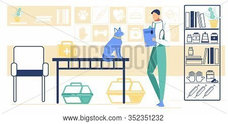 Vet Doctor Examine Animal In Examination Room. Veterinarian Practitioner Character And Dog In Pet Cl