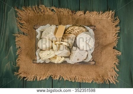 Set Of Farm Dairy Produce Cottage Cheese. Eco Friendly Shopping. The Concept Of Eco Products. Organi
