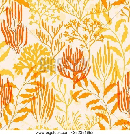 Ocean Corals Seamless Pattern. Kelp Laminaria Seaweed Algae Background. Underwater Plants Fabric Vec