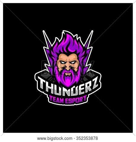 Zeus Thunderbolt Esport Gaming Mascot Logo Template Vector. Modern Head Zeus Thunderbolt Logo Vector