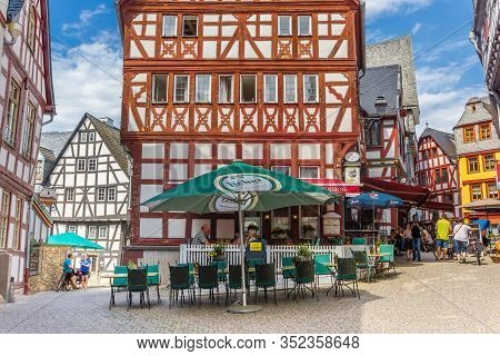 Limburg, Germany - August 02, 2019: Cafe In A Colorful Half Timbered House In Limburg An Der Lahn, G