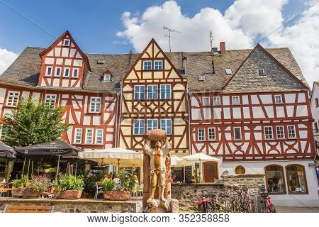 Limburg, Germany - August 02, 2019: Half Timbered Houses A The Market Square Of Limburg An Der Lahn,
