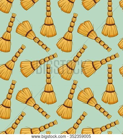Cartoon Besoms For Cleaning Seamless Pattern On Green Background