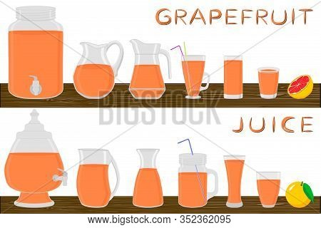 Illustration On Theme Big Kit Different Types Glassware, Grapefruit Jugs Various Size. Glassware Con