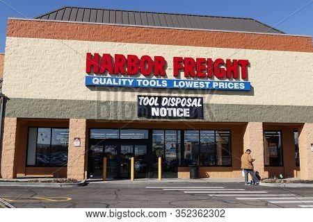 Cincinnati - Circa February 2020: Harbor Freight Tools Strip Mall Location. Harbor Freight Tools Is