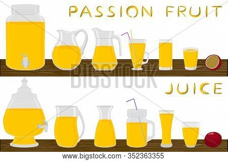 Big Kit Different Types Glassware, Passion Fruit Jugs Various Size. Glassware Consisting Of Organic