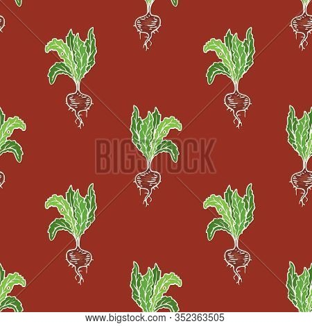 Regular Seamless Pattern With Ripe Red Beetroot. White Contour