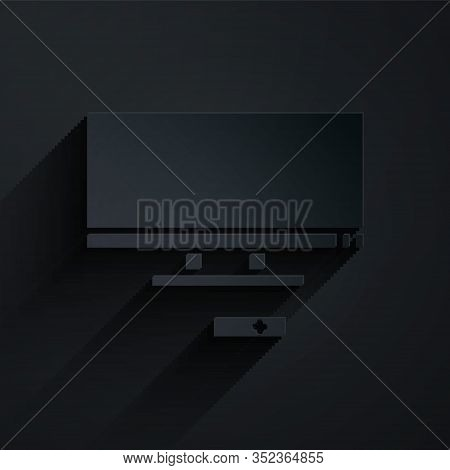 Paper Cut Smart Tv Icon Isolated On Black Background. Television Sign. Paper Art Style. Vector Illus