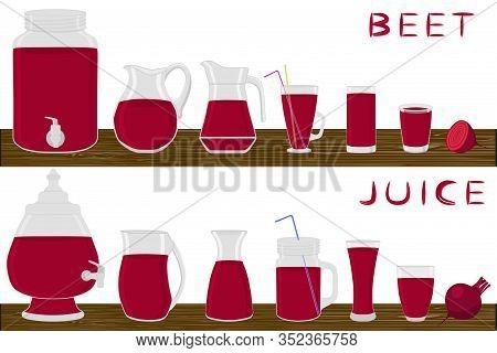 Illustration On Theme Big Kit Different Types Glassware, Beet Jugs Various Size. Glassware Consistin