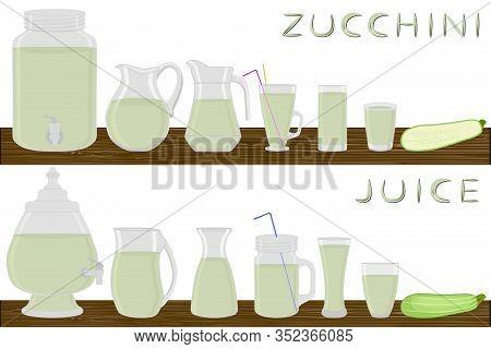 Illustration On Theme Kit Different Types Glassware, Zucchini Jugs Various Size. Glassware Consistin