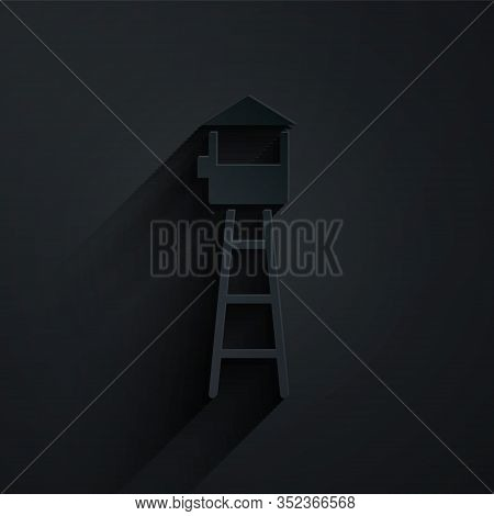 Paper Cut Watch Tower Icon Isolated On Black Background. Prison Tower, Checkpoint, Protection Territ
