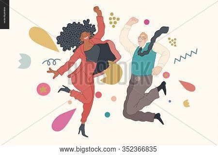 Happy Business Employee Man And Woman Jumping In The Air Cheerfully. Modern Flat Vector Concept Illu