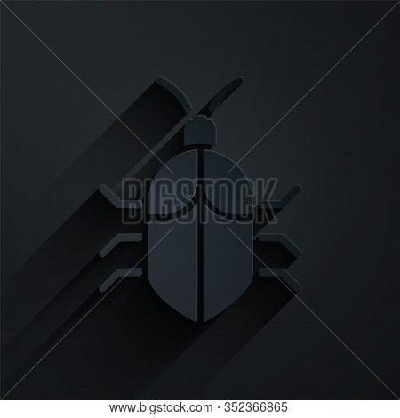 Paper Cut System Bug Concept Icon Isolated On Black Background. Code Bug Concept. Bug In The System.