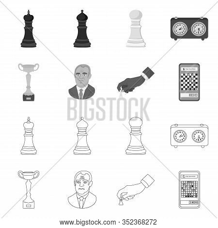 Vector Design Of Checkmate And Thin Icon. Set Of Checkmate And Target Vector Icon For Stock.