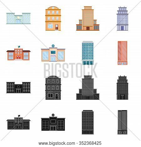 Vector Illustration Of Municipal And Center Icon. Collection Of Municipal And Estate Vector Icon For