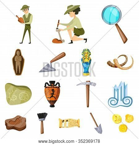 Vector Design Of Archaeology And Historical Symbol. Set Of Archaeology And Excavation Stock Vector I