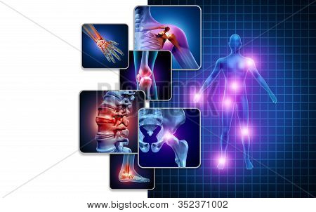 Joint Body Pain Concept As Skeleton And Muscle Anatomy Of The Body With A Group Of Sore Joints As A