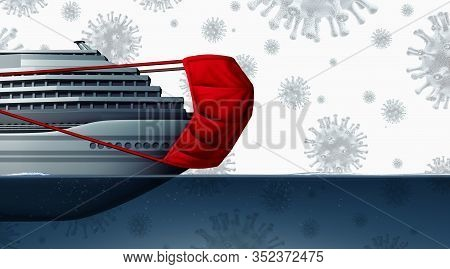 Cruise Liner Ship Virus Disease Outbreak And Coronavirus With Surgical Mask As An  Influenza Risk As