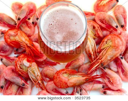 Beer And Shrimps (Prawns).