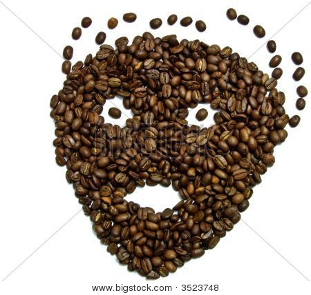 face made of coffee beans over white poster