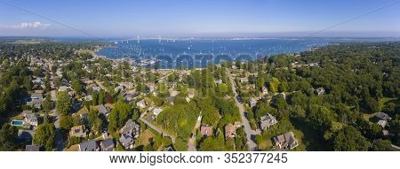 Claiborne Pell Newport Bridge On Narragansett Bay And Town Of Jamestown Aerial View In Summer, James